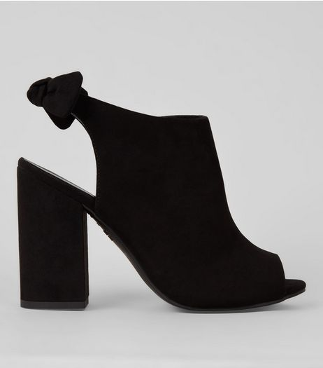 Black Peep Toe Bow Back Heeled Sandals | New Look