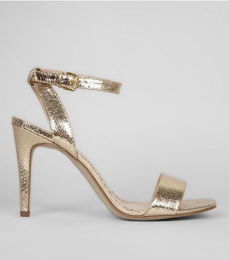 Gold Crackle Metallic Ankle Strap Heels | New Look