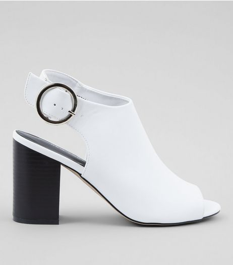 White Sling Back Buckle Strap Heels | New Look
