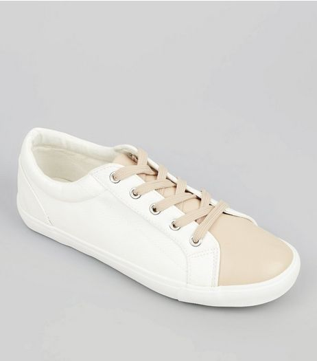 Wide Fit White Colour Block Trainers | New Look