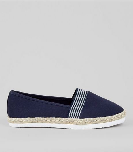 Wide Fit Navy Contrast Stripe Canvas Espadilles | New Look