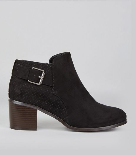 Wide Fit Black Perforated Back Buckle Strap Boots | New Look