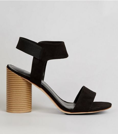 Wide Fit Black Suedette Elasticated Sling Back Heels | New Look