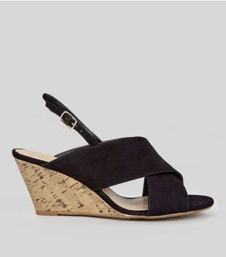 Wide Fit Black Suedette Cross Strap Cork Wedge Heels | New Look
