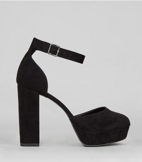 Wide Fit Black Suedette Platform Heels  | New Look