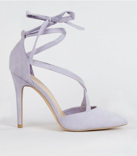 Lilac Suedette Strappy Pointed Heels | New Look