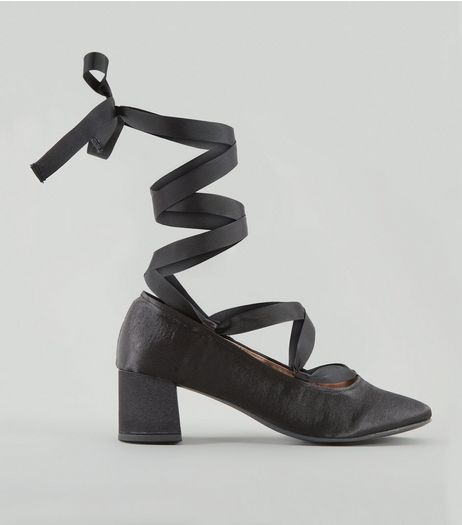 Black Satin Ankle Tie Block Heels | New Look