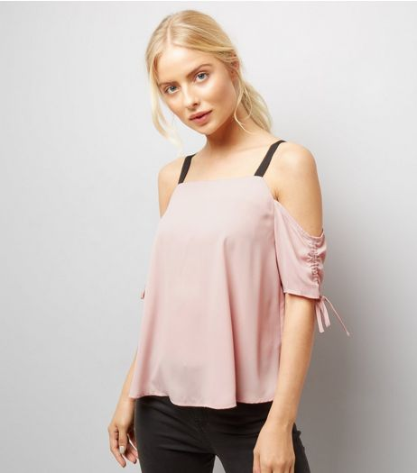 Mid Pink Ruched Sleeve Top  | New Look