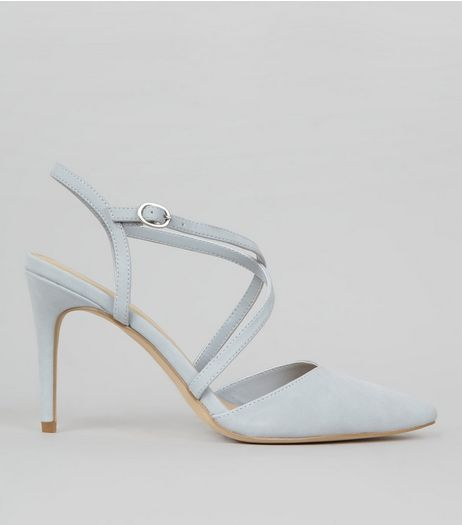 Pale Blue Pointed Cross Strap Heels | New Look