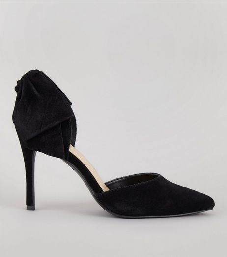 Black Suede Bow Back Pointed Heels | New Look