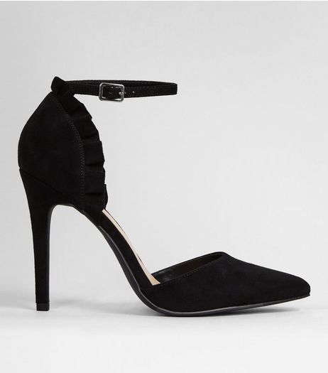 Black Suedette Frill Trim Pointed Heels | New Look