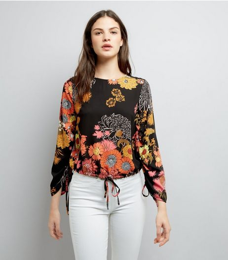 Black Floral Print Ruched Side Top  | New Look