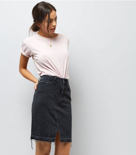 Black Eyelet Studded Denim Skirt | New Look