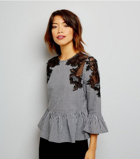 Black Gingham Crochet Lace Trim 3/4 Sleeve Top | New Look
