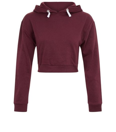 Teens Burgundy Cropped Hoodie  | New Look