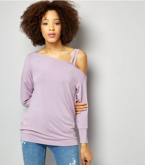 Lilac Double Strap Long Sleeve Jumper  | New Look