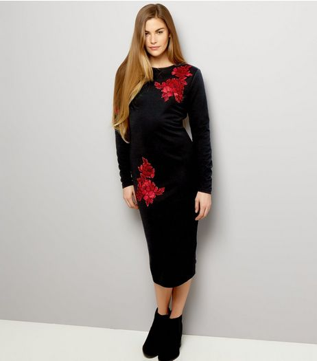 Black Velvet Floral Design Midi Bodycon Dress | New Look