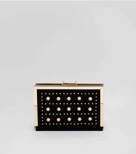 Black Pearl Stud Box Clutch | New Look