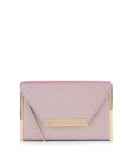 Lilac Glitter Metal Trim Clutch | New Look