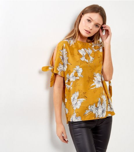 Cameo Rose Mustard Floral Print Top | New Look