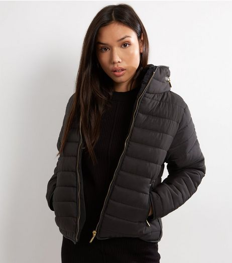 Cameo Rose Black Puffer Jacket | New Look