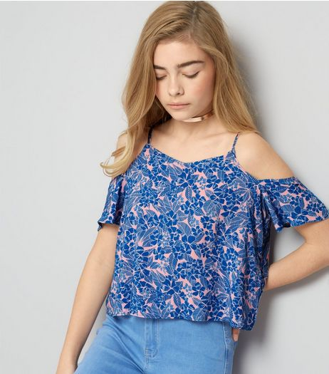 Teens Blue Tropical Print Cold Shoulder Top | New Look