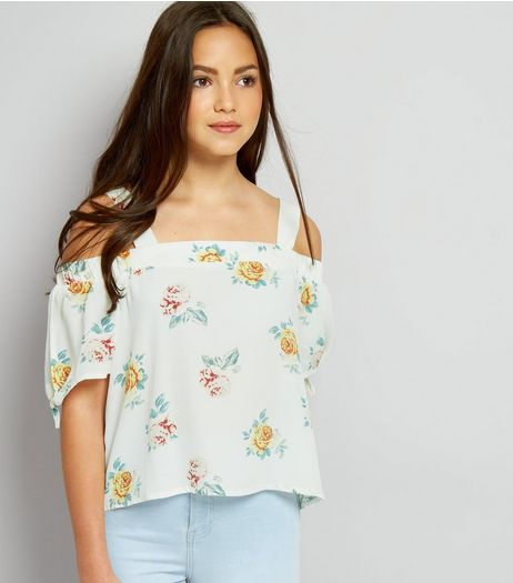 Teens White Floral Print Tie Sleeve Cold Shoulder Top | New Look