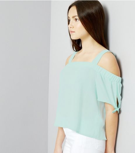 Teens Mint Green Tie Sleeve Cold Shoulder Top | New Look