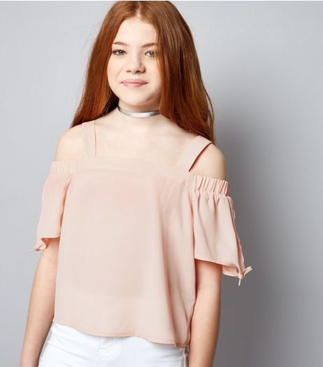Teens Mid Pink Tie Sleeve Cold Shoulder Top | New Look