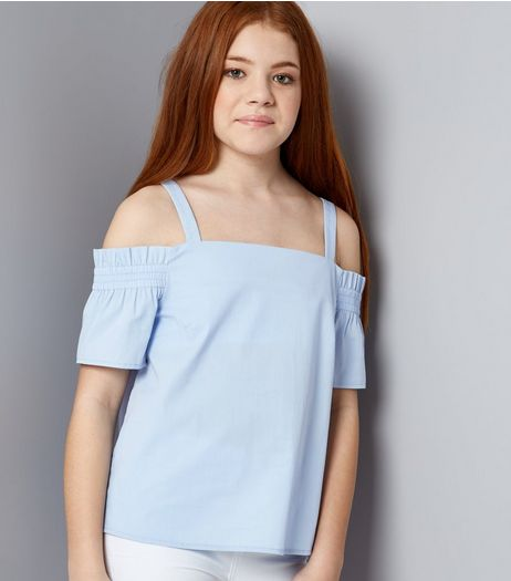 Teens Pale Blue Shirred Cold Shoulder Bardot Neck Top | New Look