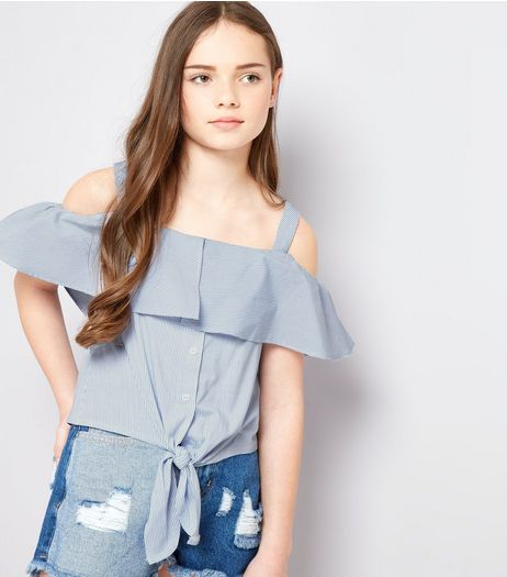 Teens Blue Contrast Stripe Cold Shoulder Tie Front Top | New Look