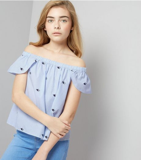 Teens Blue Stripe Bird Embroidered Bardot Neck Top | New Look