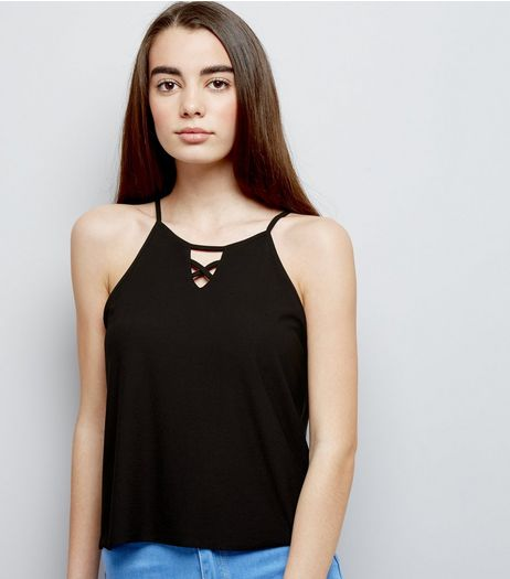Teens Black Crepe Jersey Lattice Front Cami | New Look