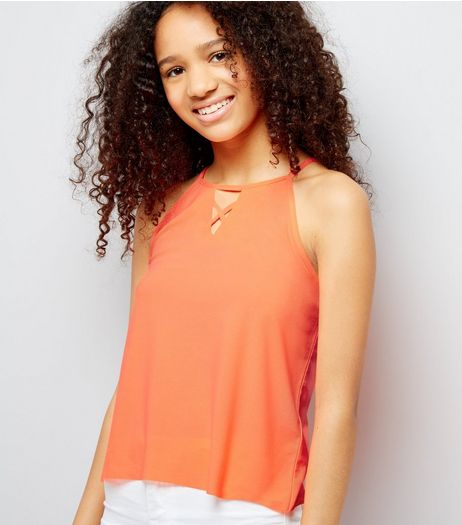 Teens Orange Crepe Jersey Lattice Front Cami | New Look