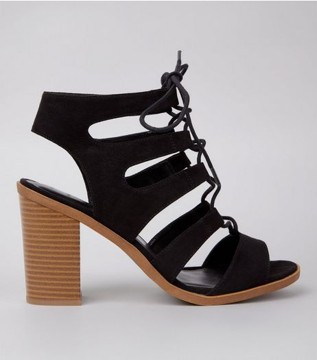 Wide Fit Black Contrast Block Ghillie Heels | New Look