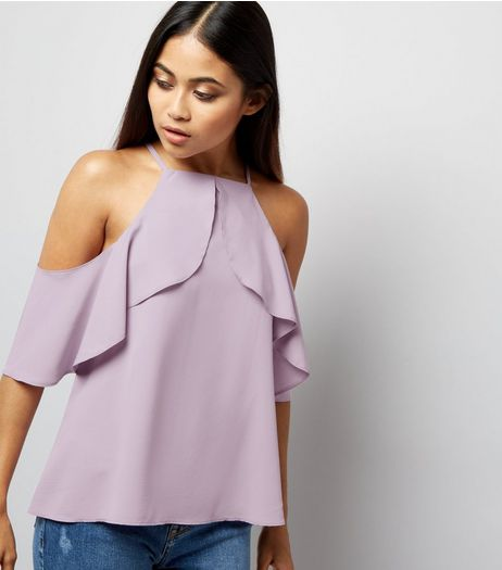 Petite Lilac High Neck Frill Trim Cold Shoulder Top | New Look