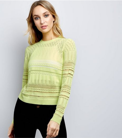 Yellow Cut Out Long Sleeve Jumper  | New Look