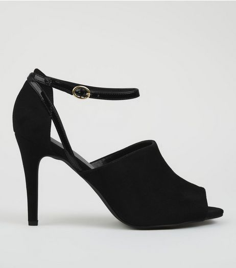 Black Comfort Peep Toe Heels | New Look