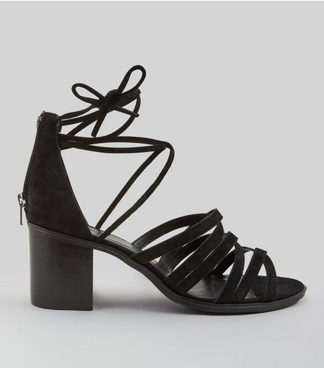 Black Suedette Multi Strap Block Heeled Sandals | New Look