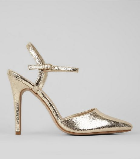 Gold Crackle Metallic Pointed Ankle Strap Heels | New Look