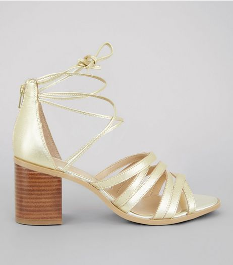Gold Leather Cross Strap Heeled Sandals | New Look