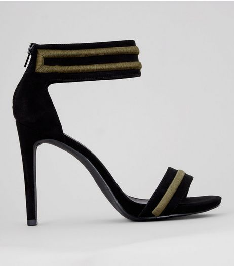 Black Contrast Trim Ankle Strap Heeled Sandals | New Look
