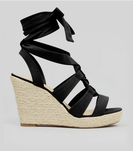 Black Suedette Tie Up Espadrille Wedged Heels | New Look