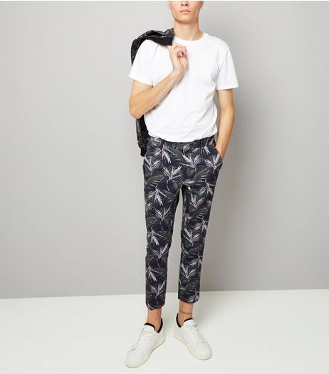 Navy Palm Print Tailored Slim Leg Trousers  | New Look