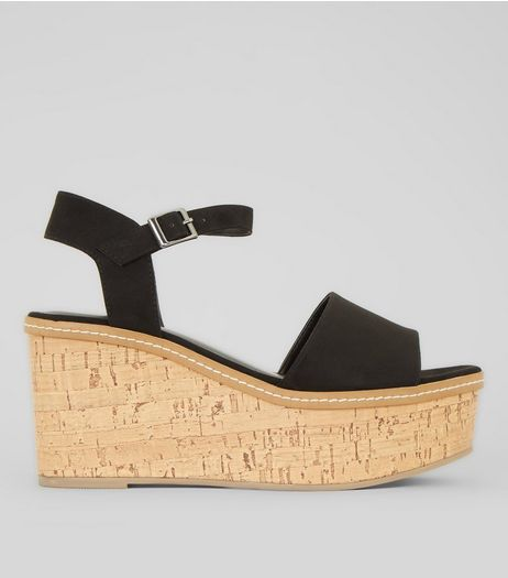 Black Suedette Cork Wedge Platform Heels | New Look