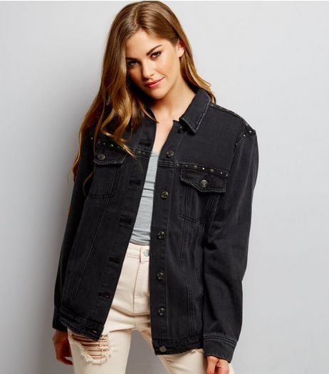 Black Studded Trim Denim Jacket  | New Look