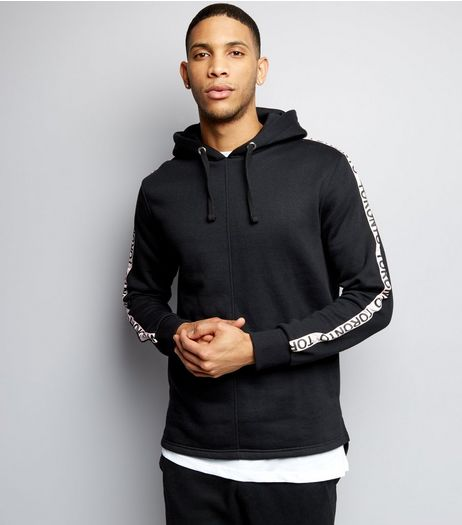 Black Toronto Trim Sleeve Hoodie | New Look