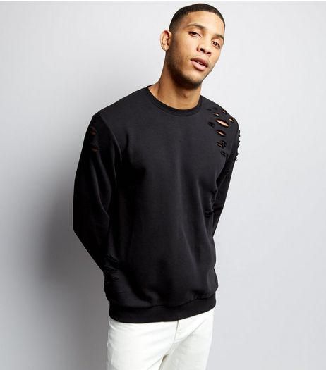Black Ripped Crew Neck Sweater | New Look