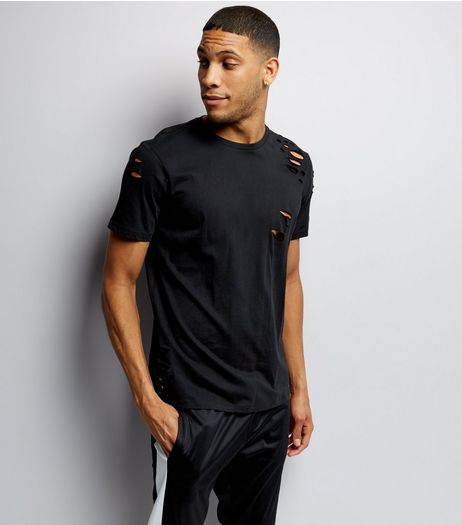 Black Ripped Short Sleeve T-Shirt  | New Look