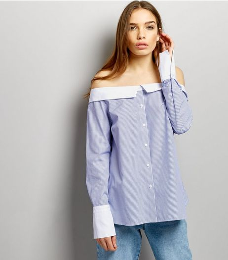 White Stripe Contrast Collar Bardot Neck Shirt  | New Look